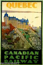 1922 Quebec Vintage Canada Canadian Pacific Travel Advertisement Art Poster