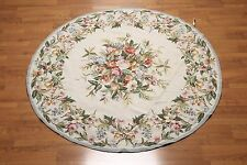 6'x6' Round hand woven 100% wool French Needlepoint Aubusson Area rug flat pile