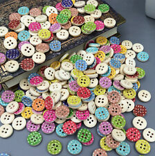 100PCS Mixed Color 4 Holes Wooden Buttons Fit Sewing Clothing accessories 13mm