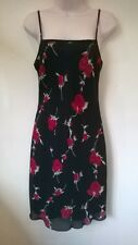 "Bay black/red rose knee length party/cocktail/evening dress UK 10 29"" long"