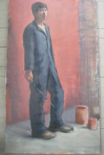 AMERICAN IMPRESSIONIST OIL PORTRAIT OF A PAINTER / STANDING MAN