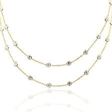 14K Yellow Gold Necklace By The Yard With Faceted Cubic Zirconia 32""