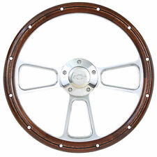 1960 - 1969 Chevy C10 Pick-Up Truck Real Wood Steering Wheel & Billet Adapter