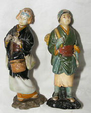 ANTIQUE PAIR OF JAPANESE PORCELAIN FIGURINES FIGURES MAN WOMAN PEASANTS SIGNED