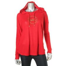 MICHAEL Michael Kors 4344 Womens Red Waffle Knit Embellished Hoodie Top XL BHFO