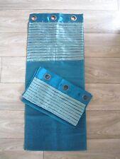Paire de Rideaux/voilages Bleus à oeillets avec fibres métalliques 105 x 260
