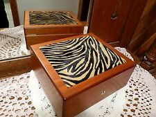 HERMES PARIS Authentic WOOD Dresser JEWELRY BOX w/ TIGER PRINT FAUX FUR TOP New!
