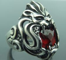 Turkish   Handmade  925 Sterling Silver LİON Ruby Mens Ring Sz 11 Free Rsz
