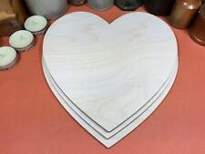WOODEN HEARTS Shapes 22cm (x3) laser cut wood cutouts crafts blank shape