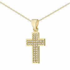 New Sterling silver Cubic Zirconia CZ Cross Necklace Pendant With 18'' Chain