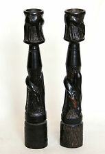 Vintage Carved Wooden Candlesticks - African?