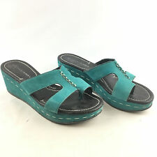 Donald J. Pliner Women's Sela Teal Leather Slide Wedge Thong Sandals Size 8 M