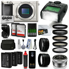 Sony Alpha a6000 Mirrorless Silver Camera Kit with 16-50mm and Filter Bundle Set