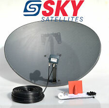 Freesat / Sky 80cm zone 2 satellite dish & quad lnb + 10m twin black install kit