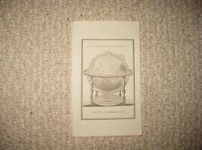 ANTIQUE 1800 TERRESTRIAL GLOBE COPPERPLATE PRINT WORLD MAP SCIENCE DEVICE RARE