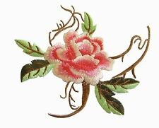 "6774 4-5/8"" Pink,Red Paeonia Lactiflora Flower Embroidery Iron on Applique Patch"