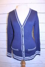 Gap Top S Blue Navy Gray Stripe V Neck Button Front Uniform Sweater Cardigan