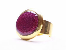 IRIDESCENT PURPLE BEAD & GLINTING GOLD METAL HORIZONTAL DISC RING, ADJUSTS(ZX42)