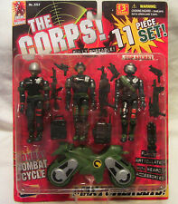 The Corps 11 Piece Action Figure Set w/Weapons & Combat Cycle 1999 Lanard
