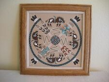 """Vintage 16"""" NATIVE AMERICAN NAVAJO INDIAN SAND PAINTING SIGNED TOM CLAH"""