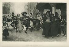 ANTIQUE CARNIVAL FEAST PARTY FLANDERS DANCING FLASTAFFIAN MONK PRAYING OLD PRINT