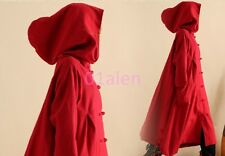 New Vogue Spring Ladies Cape Linen Cotton Hooded Loose Knee Mid Long Trench Coat