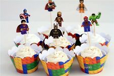 A tema cupcake muffin wrapper & DECORAZIONI PER TORTA DECORAZIONE X 8 LEGO SUPEREROI
