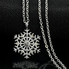 Xmas Silver Frozen Snowflake Crystal Pendant Chain Necklace Charm Christmas Gift