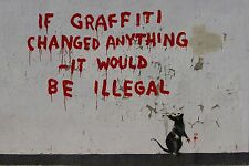 "Banksy, If Graffiti Changed Anything..., 8""x12"", Giclee Canvas Print"