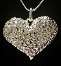 FAT LACE HOLLOW HEART SILVER TONE SNAKE CHAIN NECKLACE GIFT BAG With Bonus