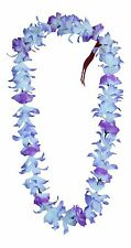 Hawaiian Lei Party Luau Floral Leilani Carnation Silk Dance Flower Purple Blue