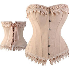 Cream Sweetly Victorian Overbust Corset Lace up Bustier Lingerie Plus S-6XL LBN