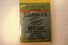 "ESSO  MATCHBOOK COVER 4 3/4"" X 1 1/2 ""  PRE-OWNED."
