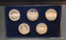ROYAL RESIDENCES PROOF LIKE SILVER? MEDAL SET OF 5 CASED STUNNING