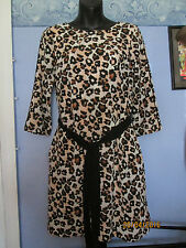 TIGER ANIMAL PRINT DRESS 3 QUARTER SLEEVES FULLY LINED SIZE 36 8/10 FREE P+P