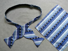 NEW MENS SELF TIE DICKIE BOW BLUE BLACK GEOMETRIC BOWTIE & TOP POCKET HANKIE