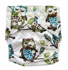 Modern Reusable Washable Baby Cloth Nappy Cloth Diapers + Insert Blue Green Owls