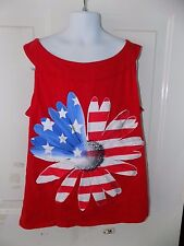 Justice Red White & Blue Daisy Flag Shirt Size 20 Girl's NWOT