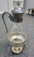 Vintage-Glass Silver Coffee Pot Carafe Service with Footed Stand Warmer Burner