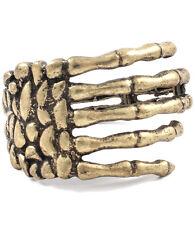 Statement Burnished Gold Skeleton Hand Cuff Bangle Bracelet by Rocks Boutique