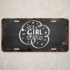 LP296 It's a Girl Sign Rust Vintage Auto Car License Plate Baby Shower Decor