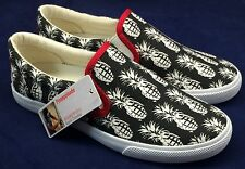Bucketfeet Pineappleade Dj Lu Shoes Low Top Canvas Slip On Womens Size 7 BK WH