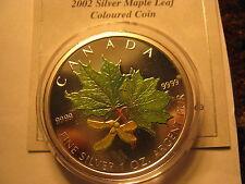 2002 CANADA MAPLE LEAF 1 OZ $5 COLOURED FABUOLOUS MINT COIN RARE!