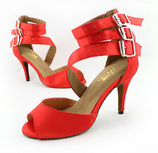 new Red Satin soft outsole Latin dance shoes womens Ballroom dancing shoes Party