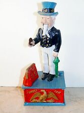 Vintage Repro Cast Iron Uncle Sam Mechanical Penny Coin Bank Works