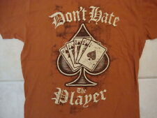 "World Series Poker Spade Card ""Don't Hate the Player"" Soft Orange T Shirt M"