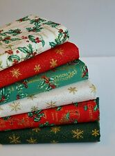 CHRISTMAS FABRIC REMNANTS STARS HOLLY RED GREEN CREAM 6 PIECES 100% COTTON