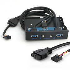 20Pin to 2 USB 3.0 Port HUB + HD Audio PC Floppy Front Panel Expansion Rack 3.5""