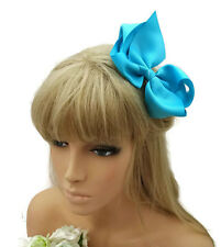 Gorgeous 12 cm Bow Hair Clip Grip in Blue Ribbed Ribbon Fabric