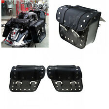 2x Motorcycle Black PU Leather Saddlebags Saddle Bags Pouch for Harley Honda